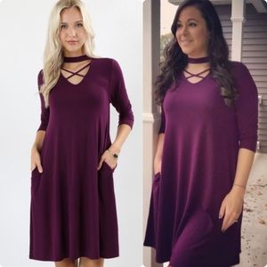 Plum Criss Cross Choker Dress With Pockets. Small.